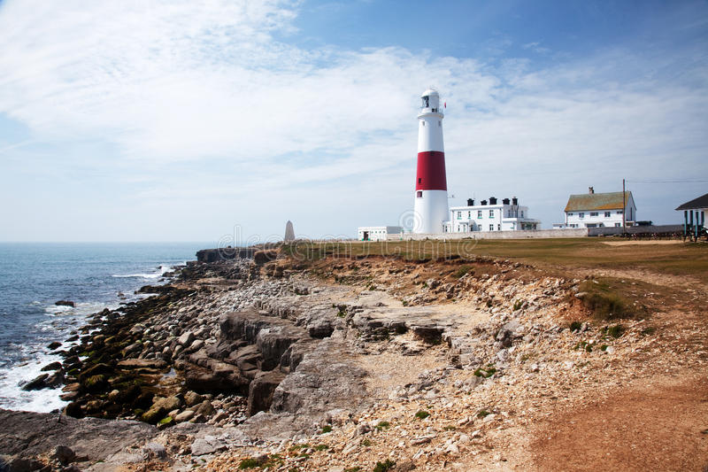 Portland Bill Lighthouse in Dorset. A landscape view of Portland Bill Lighthouse in Dorset royalty free stock photos