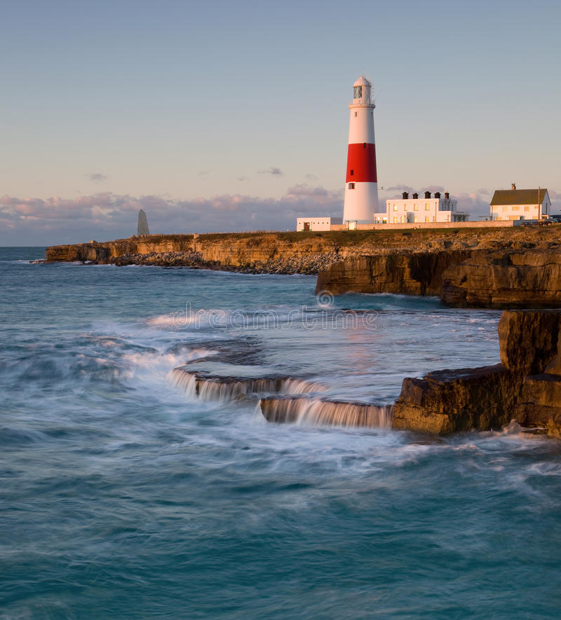 Portland Bill lighthouse, Dorset, UK. Portland Bill lighthouse , Dorset, UK shortly after sunrise stock photos