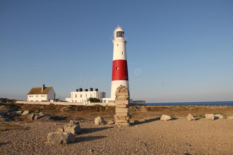 Portland Bill Lighthouse, Dorset, UK. Portland Bill Lighthouse is a working lighthouse on the Isle of Portland, Dorset, UK. It was automated in 1996 and is now royalty free stock photo