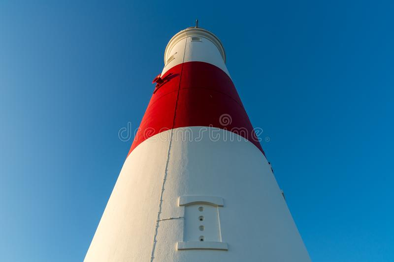 Portland Bill Lighthouse, Jurassic Coast, Dorset, UK. Clear sky at Portland Bill Lighthouse, Jurassic Coast, Dorset, UK stock photos