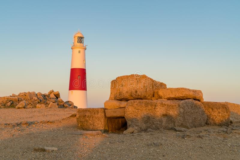 Portland Bill Lighthouse, Jurassic Coast, Dorset, UK. Portland Bill Lighthouse seen from the rocks near Pulpit Rock, Jurassic Coast, Dorset, UK stock photos