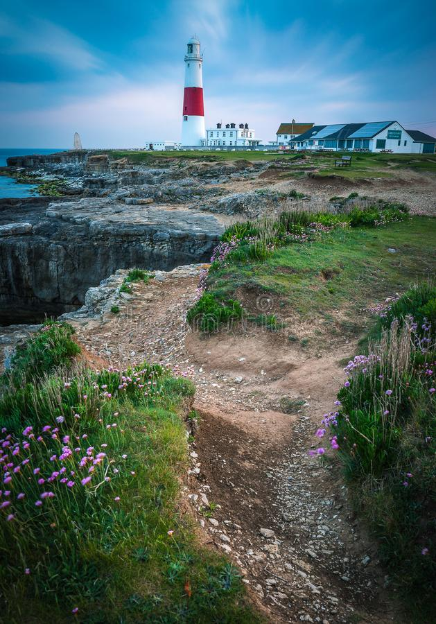PORTLAND BILL LIGHTHOUSE AT SUNSET IN DORSET. ON A SUMMERS EVENING stock image