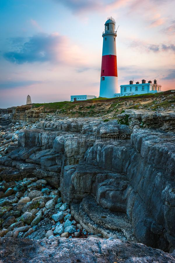 PORTLAND BILL LIGHTHOUSE AT SUNSET IN DORSET. ON A SUMMERS EVENING stock photos