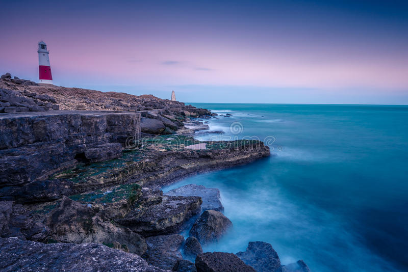 Portland Bill Lighthouse, UK. Iconic landmark on Jurassic Coast stock photo