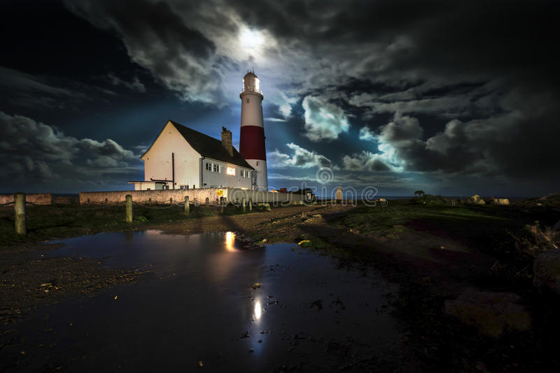 Portland Bill Lighthouse. Under a cloudy sky stock image