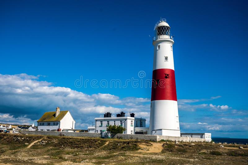Portland Bill Lighthouse, Dorset, England. Portland Bill Lighthouse was built in 1906, and is operated by Trinity House stock photos