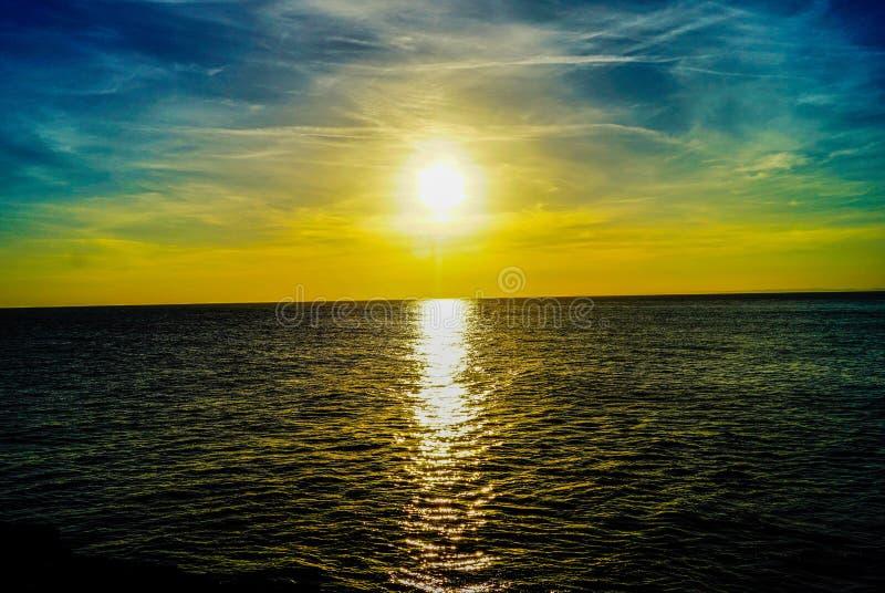 Portland Bill Sunset Yellow fotografia de stock royalty free