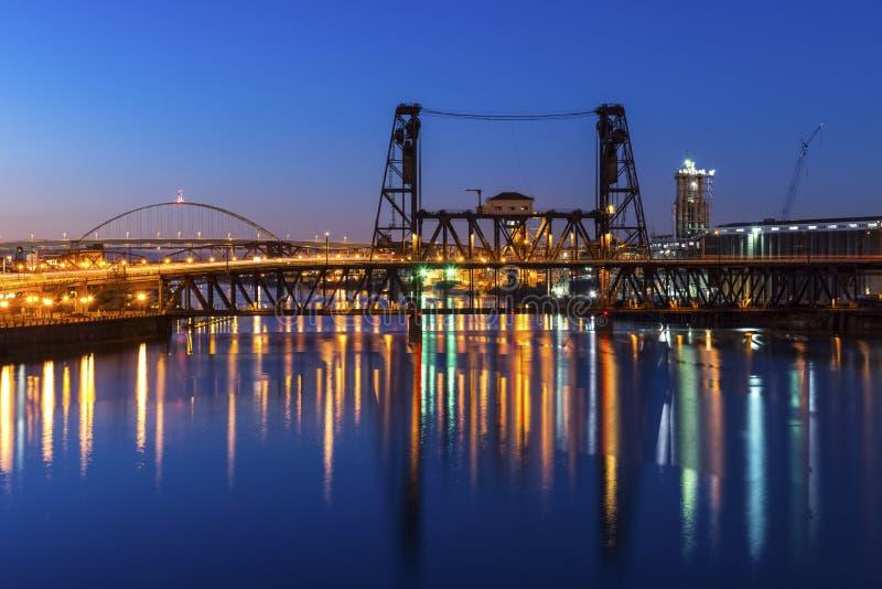 Portland Bridges at Night. A nice view on Portland west side opens from Burnside Bridge stock image