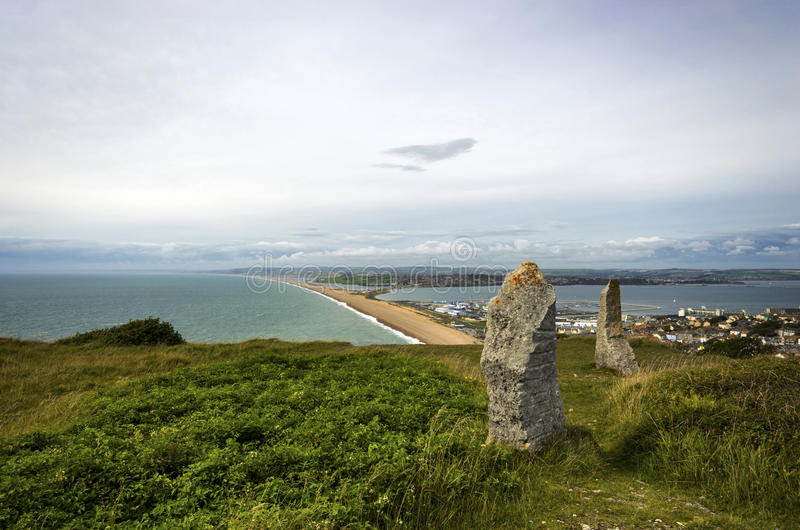 Portland and Chesil Beach. View of Chesil Beach from Portland in Dorset stock photo