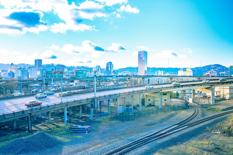 Portland city scape on the day. View from Burnside Bridge stock photos
