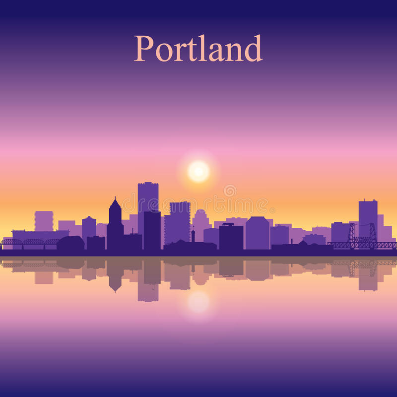 Portland city skyline silhouette background. Vector illustration royalty free illustration