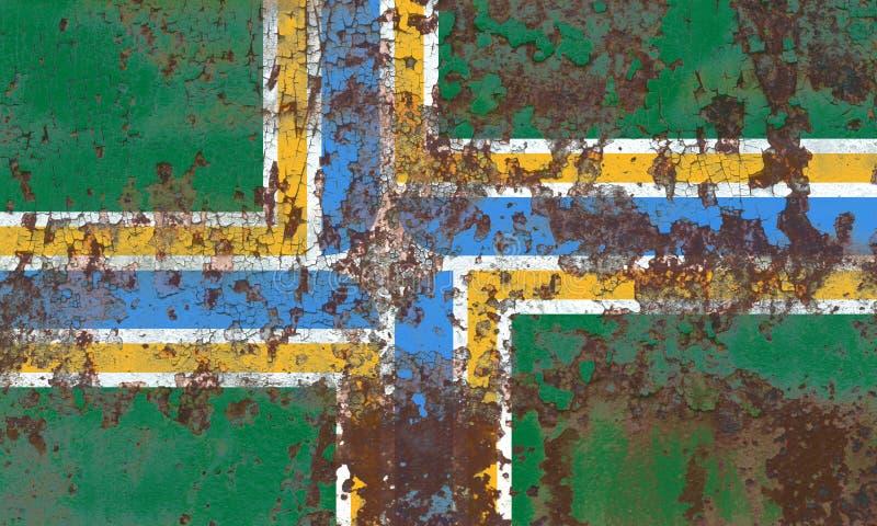 Portland city smoke flag, Oregon State, United States Of America.  stock photo