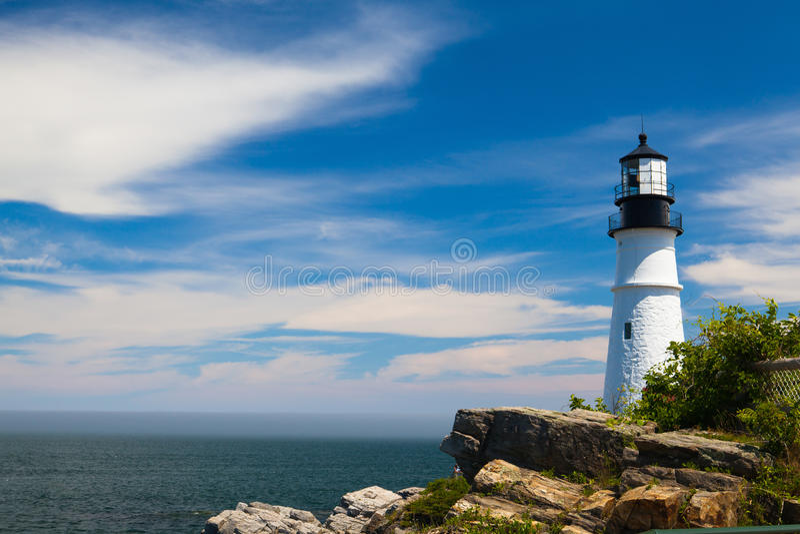 Portland dirige la luz (faro) en el cabo Elizabeth, Maine, los E.E.U.U. imagen de archivo libre de regalías