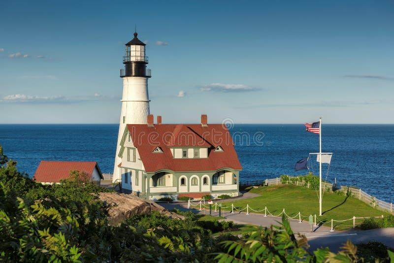 Portland dirigent la lumière au coucher du soleil dans le cap Elizabeth, Maine, Etats-Unis images stock