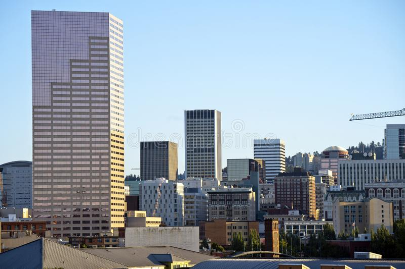 Portland Down Town with high-rise skyscrapers of office buildings and apartments stock photography