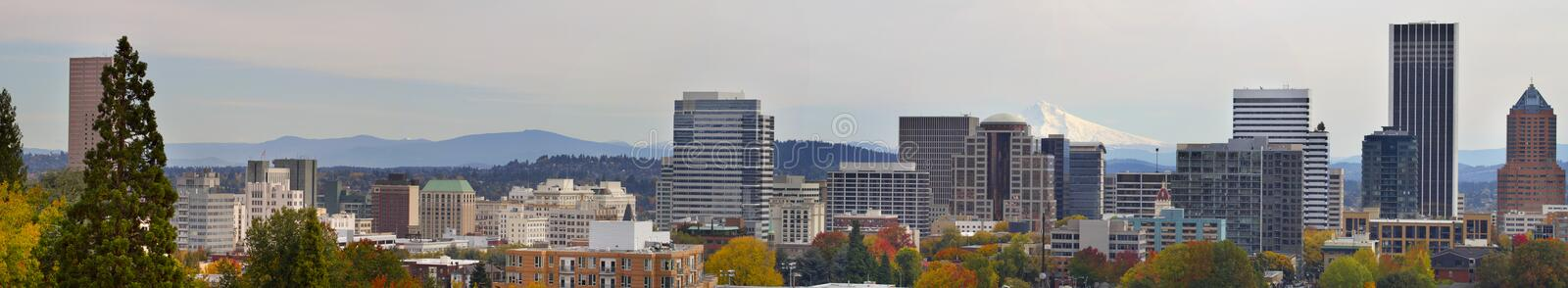 Portland Downtown Cityscape in the Fall Panorama 2 stock image
