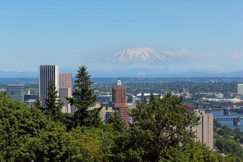 Portland Or Downtown Cityscape with Mount Saint Helens View stock photography