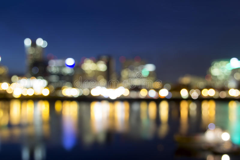 Portland Downtown Out of Focus City Lights royalty free stock photos