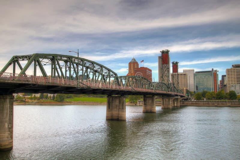 Portland Downtown Skyline and Hawthorne Bridge stock photo
