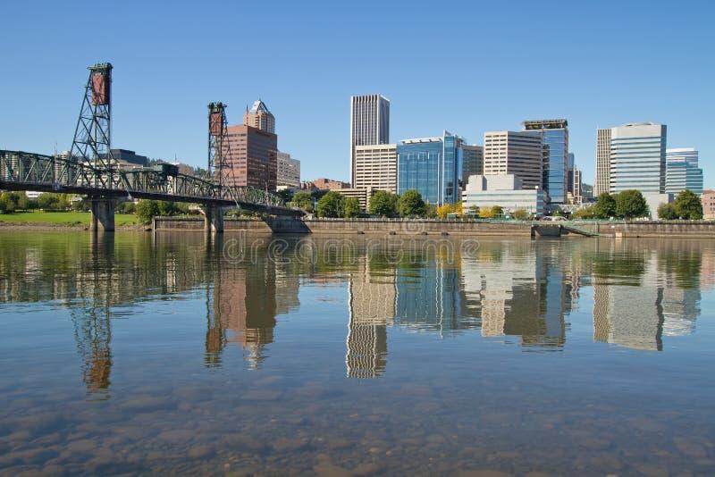 Portland Downtown Skyline and Hawthorne Bridge royalty free stock image