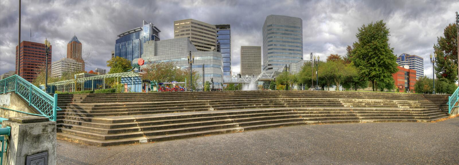 Portland Downtown Skyline Panorama royalty free stock images