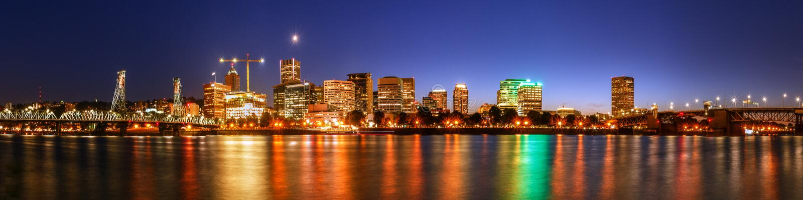Portland Downtown Waterfront at night,City Skyline stock image