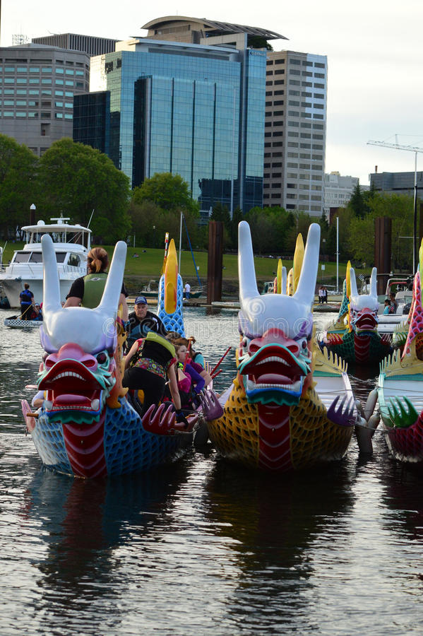 Portland Dragon Boat Festival. This photo was taken in Portland. Dragon Boat Festival is a yearly event that attracts 5,500 paddlers and over 70,000 spectators royalty free stock images