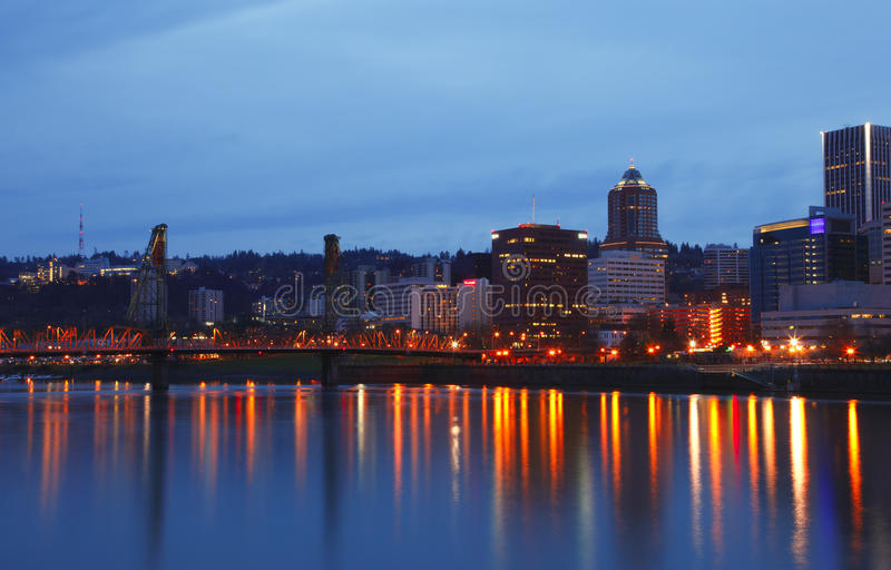 Portland at dusk. Portland skyline at dusk and the night scene coming to life royalty free stock photo