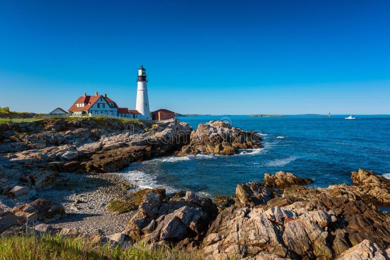 Portland głowy światła latarnia morska w przylądku Elizabeth Maine obrazy royalty free