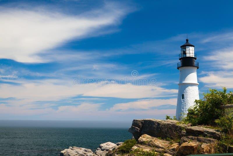 Portland głowy światło w przylądku Elizabeth, Maine, usa (latarnia morska) obraz royalty free
