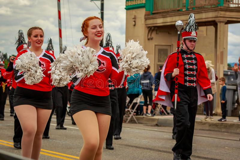 Portland Grand Floral Parade 2019. Portland, Oregon, USA - June 8, 2019: Oregon City High School Marching Band in the Grand Floral Parade, during Portland Rose royalty free stock photography