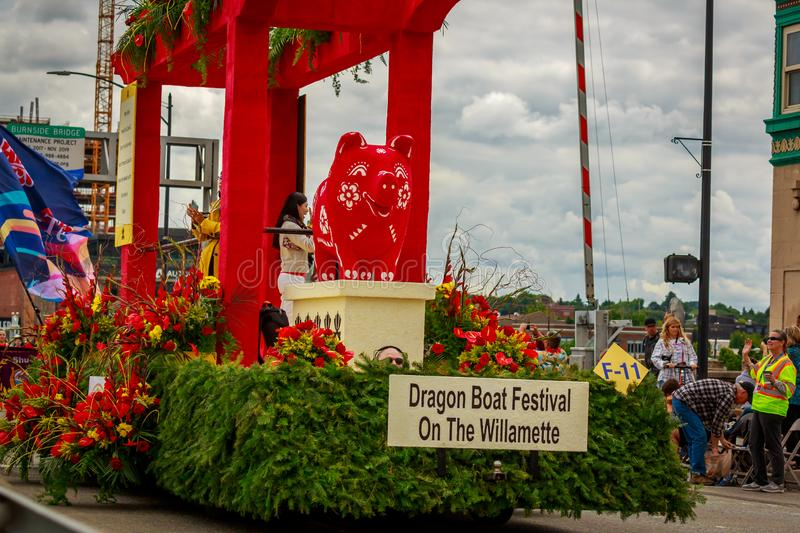 Portland Grand Floral Parade 2019. Portland, Oregon, USA - June 8, 2019: Portland-Kaohsiung Sister City Association Float in the Grand Floral Parade, during stock images