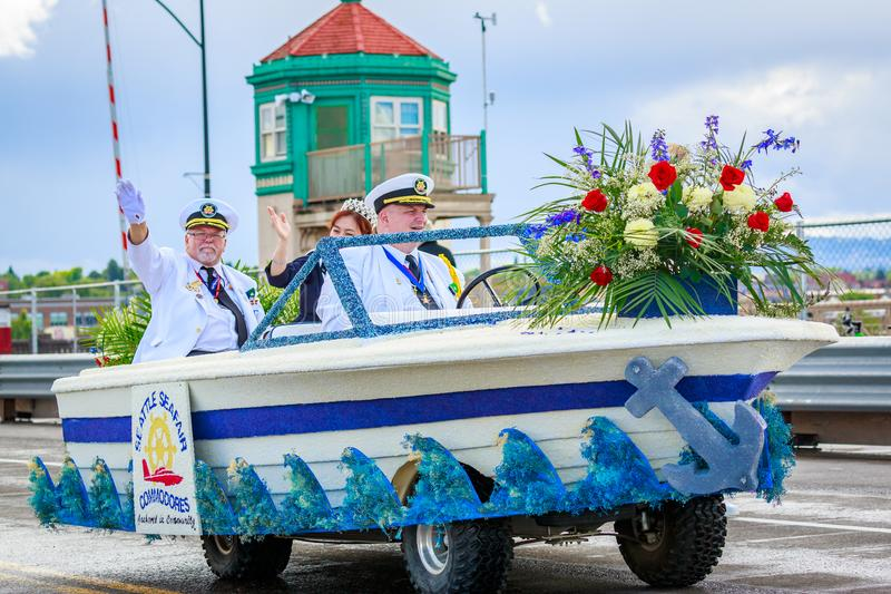 Portland Grand Floral Parade 2018. Portland, Oregon, USA - June 9, 2018: Seattle Seafair Commodores Mini-Float in the Grand Floral Parade, during Portland Rose royalty free stock image