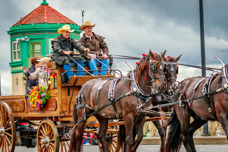 Portland Grand Floral Parade 2017. Portland, Oregon, USA - June 10, 2017: Trafalgar Farms of Walla Walla in the Grand Floral Parade, as it stretched through the royalty free stock image