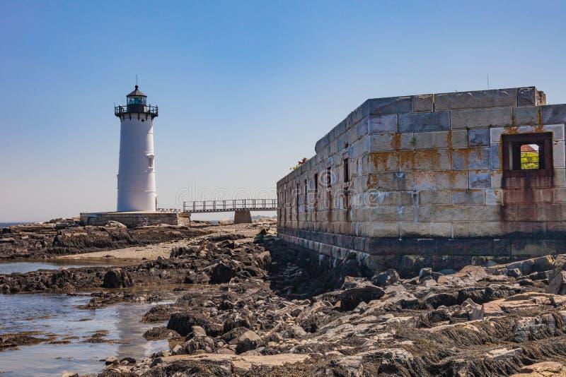 Portland-Hafen-Leuchtturm, Portsmouth, NH, an einem bewölkten Tag stockfotos