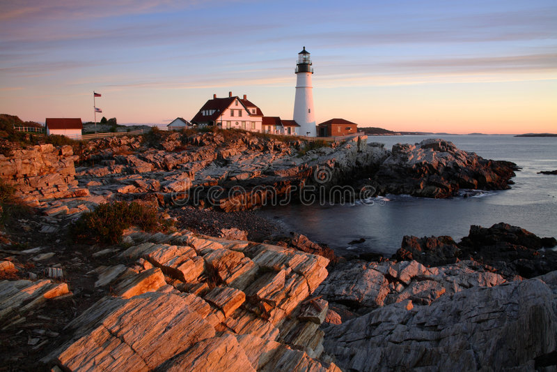 Portland Head. Light At Sunrise, Portland, Maine royalty free stock photo
