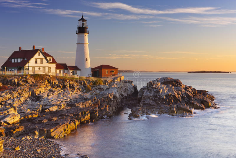 Portland Head fyren, Maine, USA på soluppgång royaltyfri fotografi