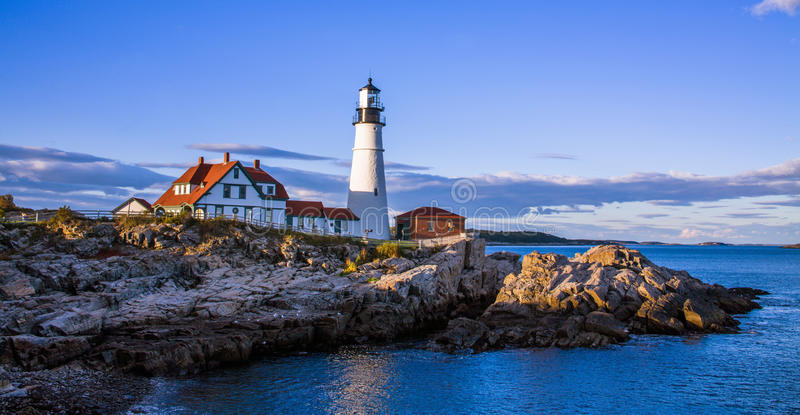 Portland Head Light. A classic New England Lighthouse in late afternoon, The Portland Head Light at Portland Maine, USA royalty free stock image
