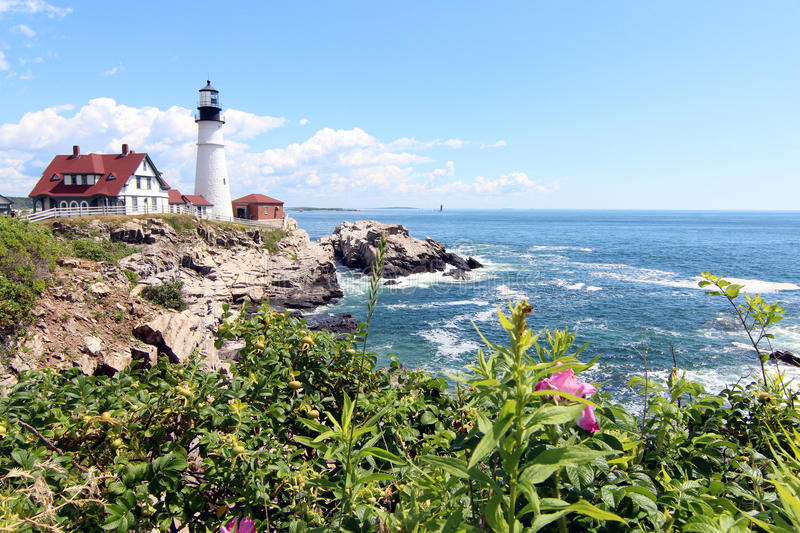 Portland Head Light. Is a historic lighthouse in Cape Elizabeth, Maine. The light station sits on a head of land at the entrance of the primary shipping channel stock images