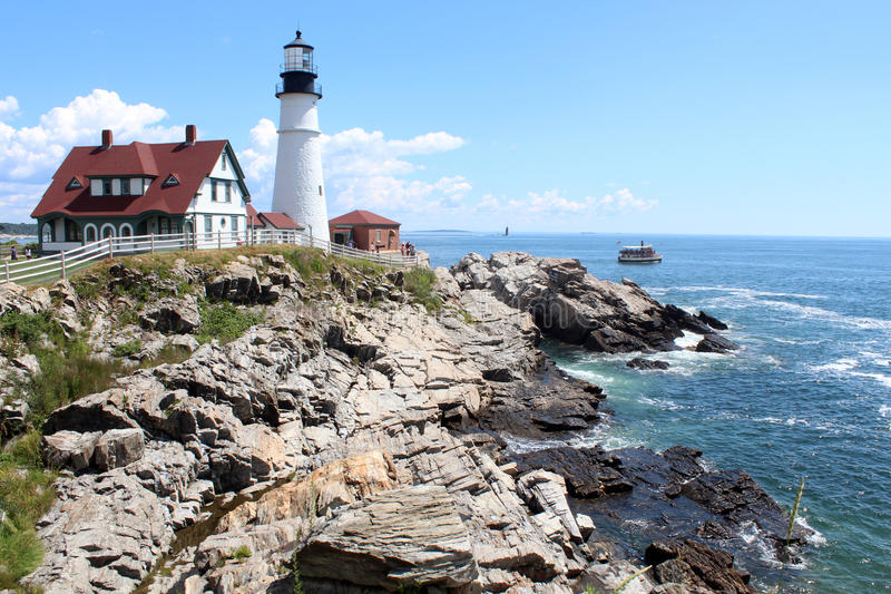 Portland Head Light. Is a historic lighthouse in Cape Elizabeth, Maine. The light station sits on a head of land at the entrance of the primary shipping channel royalty free stock photo