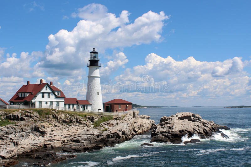 Portland Head Light. Is a historic lighthouse in Cape Elizabeth, Maine. The light station sits on a head of land at the entrance of the primary shipping channel stock photo