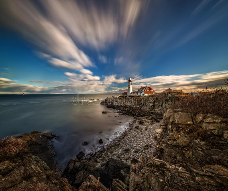 Portland head light lighthouse just before sunset royalty free stock photography