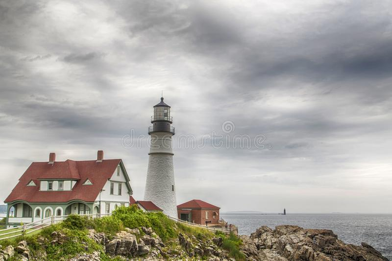Portland Head Light. Is a historic lighthouse in Cape Elizabeth, Maine stock image