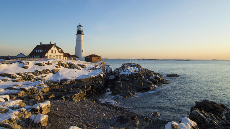 Portland Head Light, Portland, Maine - Winter sunrise royalty free stock photo