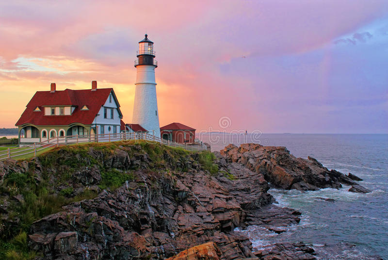 Portland Head Light. A sunset view of Portland Head Light in Cape Elizabeth, Maine royalty free stock photography
