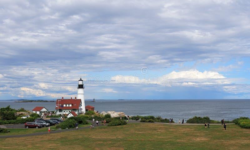 Portland Head Lighthouse at Cape Elizabeth, Portland, Maine. Portland, Maine - August 10, 2019: Portland Head Lighthouse at Cape Elizabeth, Portland, Maine stock images