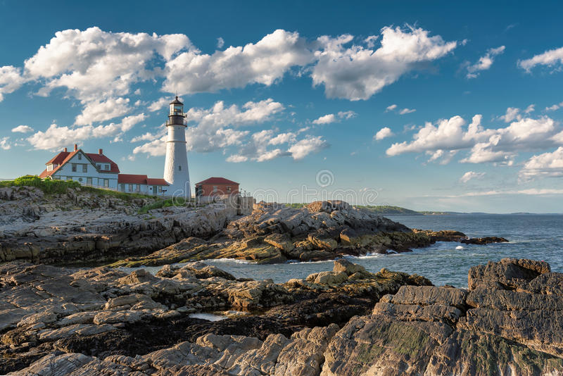 The Portland Head Lighthouse in Cape Elizabeth stock photos