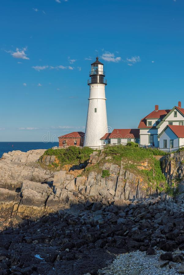Portland Head Lighthouse in Cape Elizabeth. New England, Maine, USA. One Of The Most Iconic And Beautiful Lighthouses royalty free stock photos