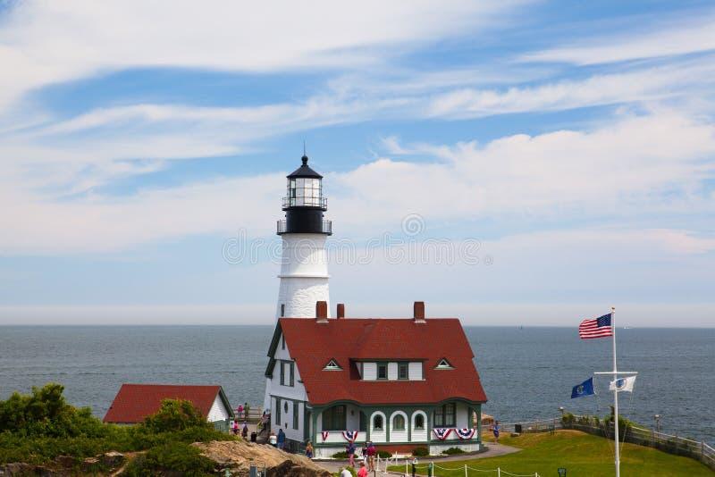 Portland Head Lighthouse at Fort Williams Park in Cape Elizabeth. Cape Elizabeth, Maine, USA: July 6, 2016: Locked down view of Portland Head Light (lighthouse) stock images