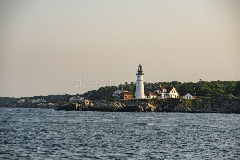 Portland Head Lighthouse, Cape Elizabeth, Maine, USA. Portland Head Lighthouse and keepers` house in summer, Cape Elizabeth, Maine, USA stock photography